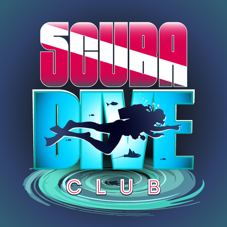 Stylized sign of scuba divers. The image of a floating scuba diver on the background of a bright inscription: Scuba Diver CLUB. At the bottom of the whirlpool stylization.