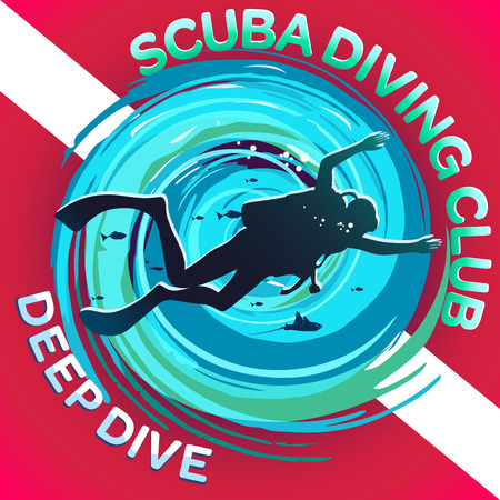 flippers: Vector image of a scuba diver on a background of a stylized maelstrom with a flag or a scuba mark diving: a white strip on a red background. Inscriptions: Scuba Diving Club & Deep Diving. Illustration