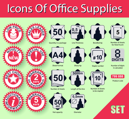 Set of icons, signs and symbols of information value for the sale of stationery. Ilustracja