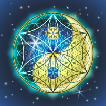 Ilustración de vector creativo del símbolo y signo de yin yang y FLOR DE LA SEÑORA. Geometría sagrada de un signo brillante, colorido azul-amarillo en el fondo del cielo estrellado. Ilustración de vector