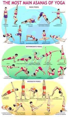 Vector Illustration der 30 grundlegendsten Yogalagen. Frauenfiguren zeigen verschiedene Asanas aus dem Komplex der Yogaübungen. Standard-Bild - 87788587