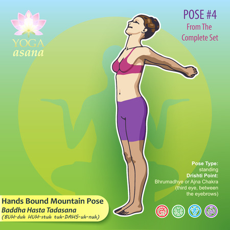 Vector illustration of Yoga Exercises with full text description, names and symbols of the involved chakras. Female figure showing the position of the body, posture or asana in standing position. 向量圖像