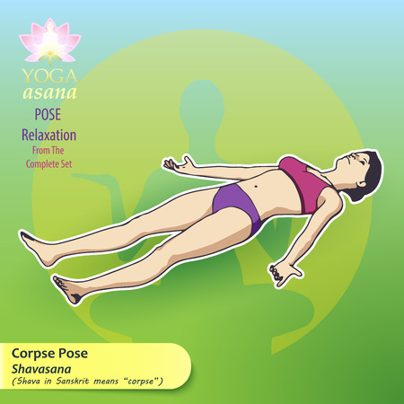 Illustration of yoga exercises with full text description and titles. The female figure shows the position of the body, posture or asana in the lying position. Pose for complete relaxation. 向量圖像
