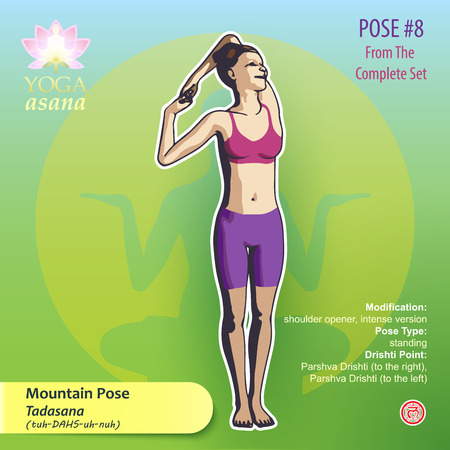 Iillustration of Yoga Exercises with full text description, names and symbols of the involved chakras. Female figure showing the position of the body, posture or asana in standing position.