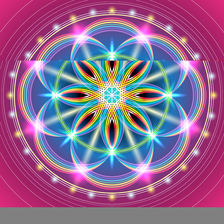 Illustration of the sacred geometry floral pattern.