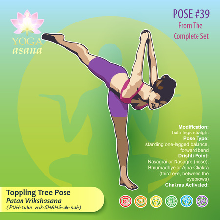 Illustration of Yoga Exercises with full text description, names and symbols of the involved chakras. Female figure showing the position of the body, posture or asana in sitting position. 版權商用圖片 - 92688080