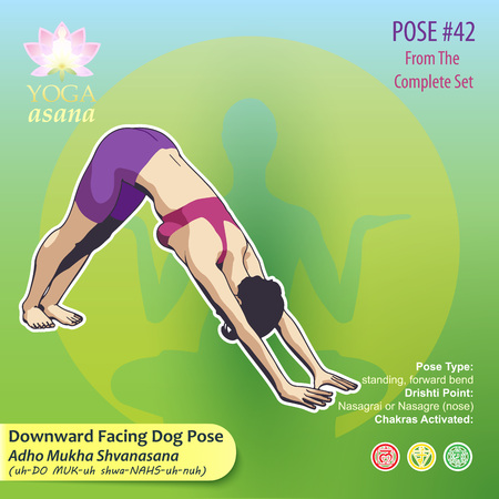 Illustration of yoga exercises with full text description, names and symbols of the involved chakras. Female figure showing the position of the body, posture or asana in sitting position. 向量圖像