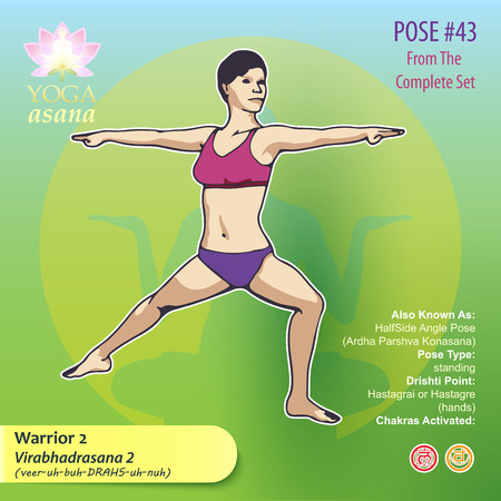 Illustration of Yoga Exercises with full text description, names and symbols of the involved chakras. Female figure showing the position of the body, posture or asana in sitting position. 版權商用圖片 - 92835776