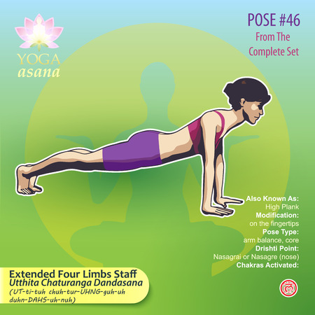 Illustration of Yoga Exercises with full text description, names and symbols of the involved chakras. Female figure showing the position of the body, posture or asana in sitting position. 版權商用圖片 - 92835783
