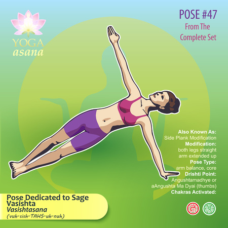 Illustration of Yoga Exercises with full text description, names and symbols of the involved chakras. Female figure showing the position of the body, posture or asana in sitting position. 版權商用圖片 - 92835787