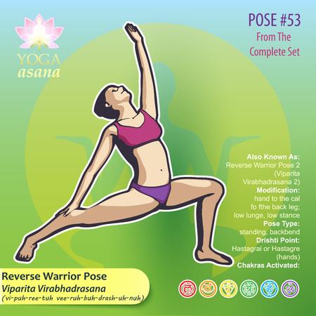 Illustration des exercices de yoga avec la description en texte intégral, les noms et les symboles des chakras impliqués. Figure féminine montrant la position du corps, de la posture ou de l'asana en position assise. Banque d'images - 93801777
