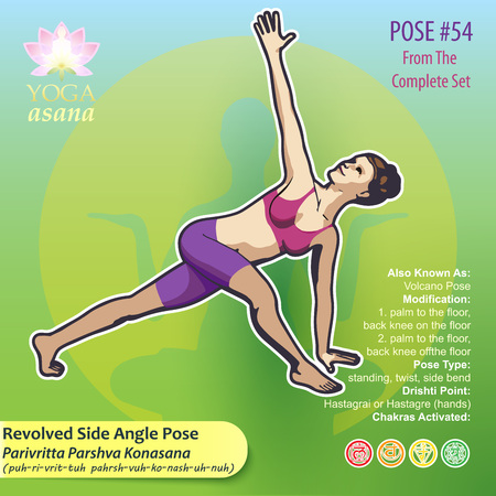 Illustration of Yoga Exercises with full text description, names and symbols of the involved chakras. Female figure showing the position of the body, posture or asana in sitting position. 版權商用圖片 - 93801778