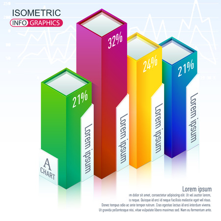 Illustration Isometric infographics. Bright, colorful Volumetric Chart of percentages. A visual representation of the business.