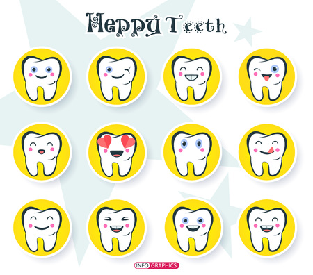 Set of Emoticons. Happy smileys in the form of teeth on the theme of dentistry. The emotional state of healthy teeth. Medical web icons.