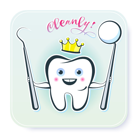Illustration of a symbol or sign of a clean, healthy tooth. Stylized picture of a funny smiling tooth with dental instruments. 版權商用圖片 - 94068936