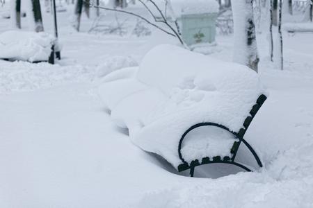 겨울 공원에서 벤치의 사진. 스노우 드리프트 표시된 빈, 외로운 벤치.