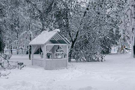 전망대와 겨울 풍경입니다. 흰색 나무 전망대와 눈 덮인 공원의 사진