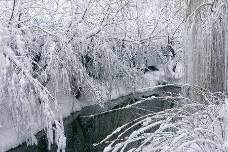 Foto einer Winterlandschaft mit einem Teich. Viel Schnee, große Schneeverwehungen, bewölkt. Die Bäume stehen tief über dem Wasser. Standard-Bild - 94252804
