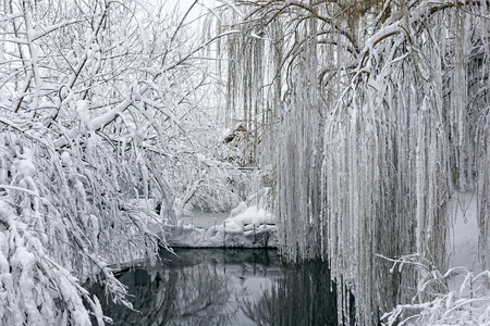 Photo of a winter landscape with a pond. A lot of snow, big snowdrifts, cloudy. The trees are low above the water.