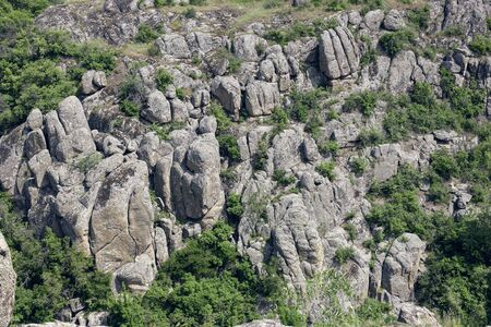 Photo landscape Aktovskogo canyon in Ukraine. Granite rocks overgrown with green trees. Rocky coast. 版權商用圖片 - 128875883