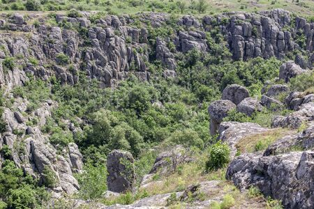 Photo landscape Aktovskogo canyon in Ukraine. Granite cliffs overgrown with green trees with a river flowing below. 免版税图像