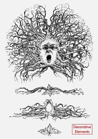 Black and white decorative elements of plant origin drawn by hand. Screaming human head with branches and roots in the form of hair. Vegetable patterns. Illustration