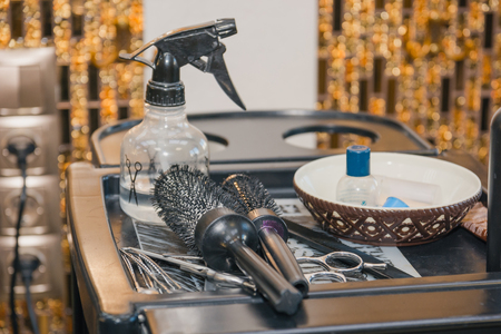 The tools that the hairdresser uses in his work Stock Photo