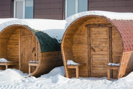 Round bathhouse. Steam manufacture. Bath in Russia. Sauna ready for sale. Bathhouse