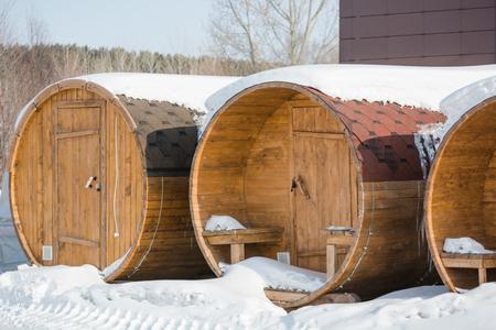 Round bathhouse. Steam manufacture. Bath in Russia. Sauna ready for sale. Bathhouse Stok Fotoğraf - 116783604