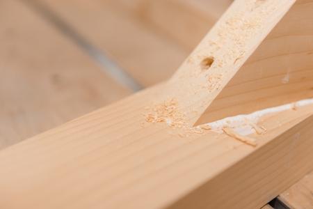 Wooden details. Details glued to each other. Carpentry workshop. Make of wood.