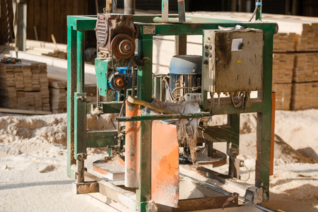 Machine for sawing wood. Sawmill for wood. Woodworking machine. machine tools Stok Fotoğraf - 116783309