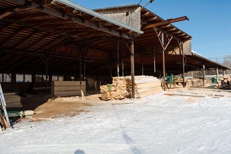 Timber lies under the snow. Sawn timber layzima. A sawn tree in the snow. Stok Fotoğraf