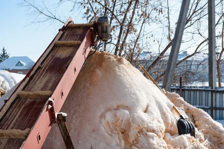 Sawdust flying. Waste from wood sawing. Removal of sawdust from the machine. Machine for sawdust. Waste wood.