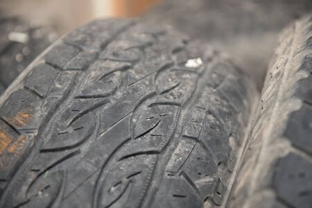 Car tires. Winter tires close-up. Wheels for the car. Tread pattern