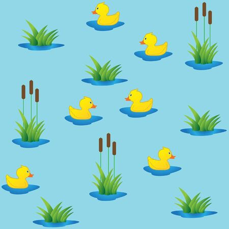 Seamless ducklings in canes  Vector