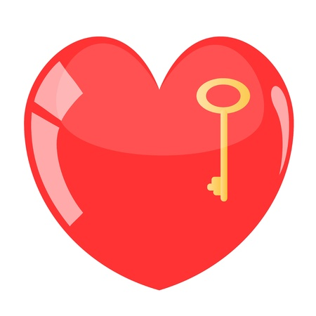 Beautiful heart with key. Stock Vector - 17783878