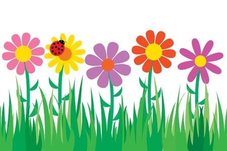 bovenaanzicht plant: Naadloze gras en bloemen