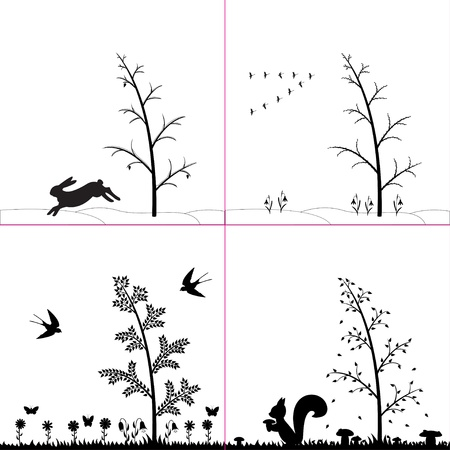 Vector illustration of silhouette seasons in forest  Vector