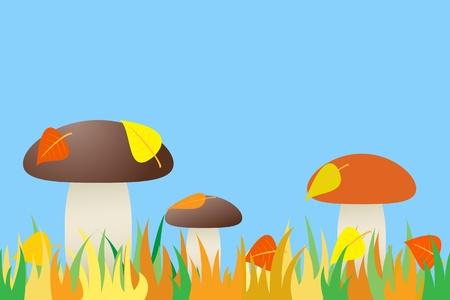 illustration the seamless of mushroom in grass. Illustration