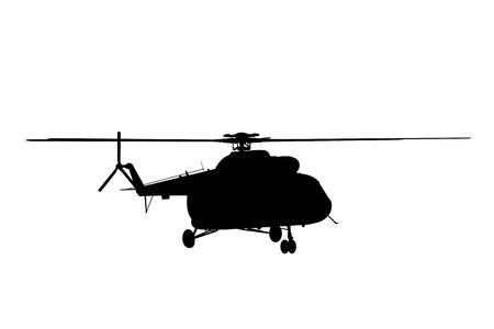 ヘリコプターのシルエット イラストです。