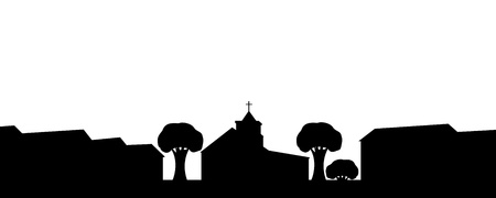 illustration silhouette of the church in the town. Stock Vector - 21410306