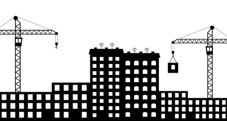 Vector illustration of  silhouette the construction of city Vector