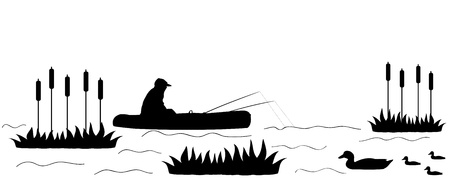 Vector illustration of silhouette the fisherman on the lake.