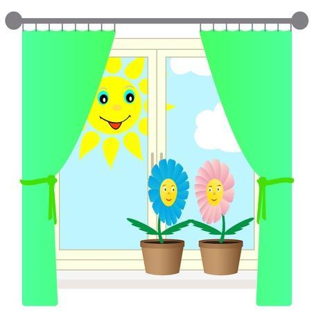windowsill: Vector illustration of two flowers on the windowsill.