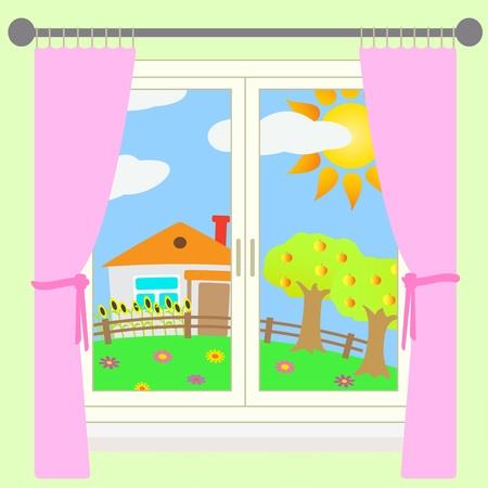 Vector illustration of rural landscape outside the window.
