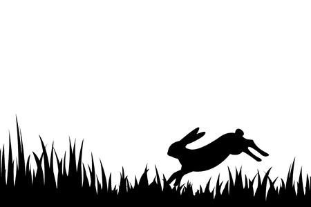 草でノウサギのベクトル図、シルエット。