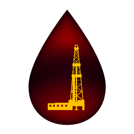 Silhouette of the rig in a drop of oil  Vector