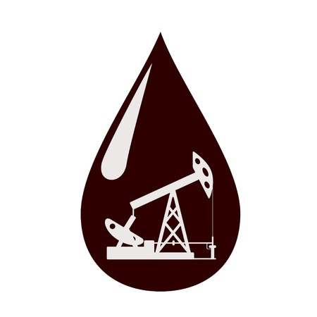 Silhouette of the oil pump in a drop of oil. Vector