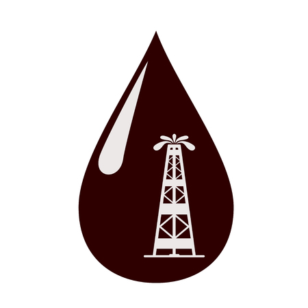 Silhouette of the rig in a drop of oil. Vector