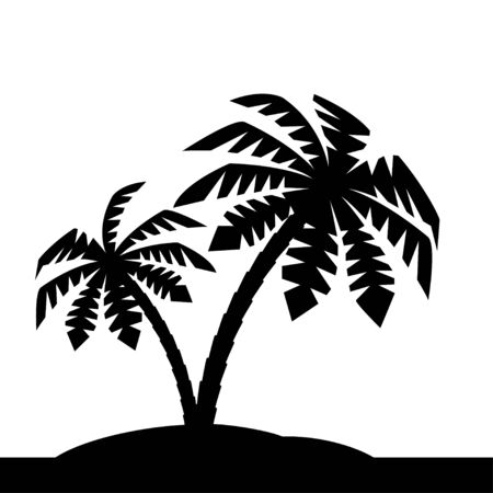 Island with palm trees. Vector